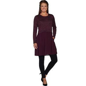 LOGO Lori Goldstein Sweater Tunic Woven Challis